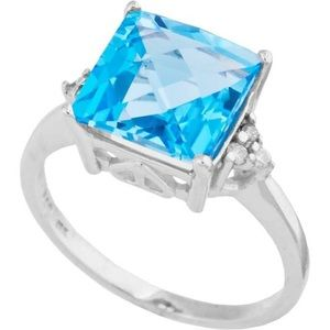 Topaz ring with side diamond size 6